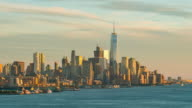 Day to night time lapse of downtown New York City skyline video