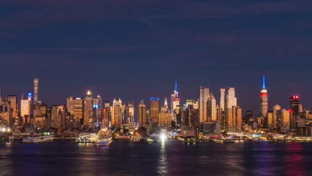 Day to night time lapse of Midtown New York City skyline video