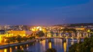 4K Day to Night Time-lapse: Aerial Bridges Prague Czech Republic video