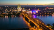 4K Day to Night Time-lapse: Aerial Cologne Cathedral Germany video