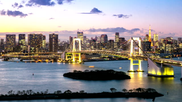 Day to Night Time-lapse: Aerial Tokyo Rainbow bridge video