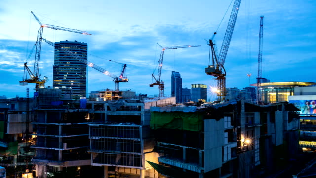 Day to Night Time-lapse: all-day working Construction site video