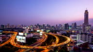 Day to Night Time-lapse: Bangkok Downtown Skyline and highway video