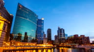 Day to Night Time-lapse: Chicago River Cityscape USA in Action video