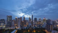 4K Day to Night Time-lapse: Cityscape business district in Bangkok Thailand video