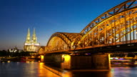 4K Day to night Time-lapse: Cologne Cathedral Hohenzollern Bridge Germany video