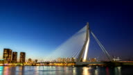 HD day to night time-lapse: Erasmus bridge Rotterdam, Netherlands video