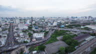 4K Day to Night Time-lapse: Expressway and Highway aerial view in Bangkok Thailand video