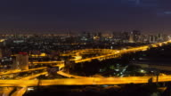 4K Day to Night Time-lapse: Expressway and Highway at night in Bangkok Thailand video