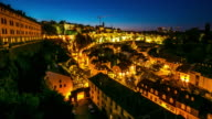 4K Day to night Time-lapse: luxembourg city old town Cityscape video