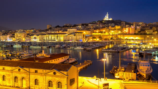 Day to Night Time-lapse: Marseille Vieux Port notre dame video