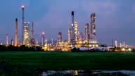HD Day to Night Time-lapse: Oil Refinery Plant working video