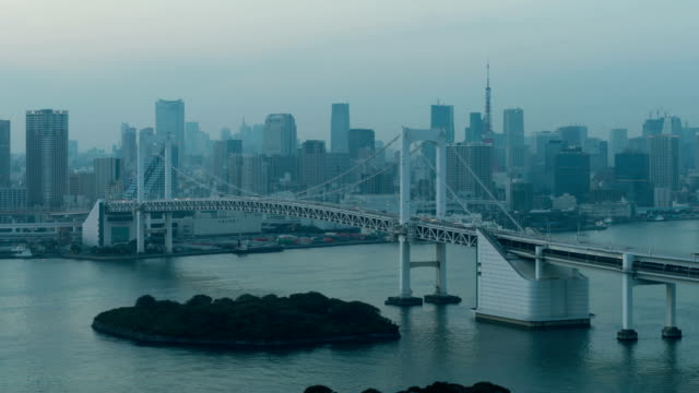 4K Day to Night Timelapse Tokyo Tower and Rainbow bridge in Tokyo, Japan video
