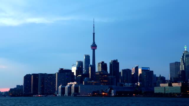 Day to night timelapse Toronto Skyline video