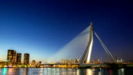 HD day to night time-lapse zoom-out: Erasmus bridge Rotterdam, Netherlands video