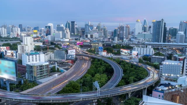 Day to night TL: the big curve multiple high way in Bangkok video