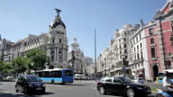 Day traffic near The Metropolis building, Madrid video