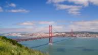 25 de Abril bridge in Lisbon, Portugal video