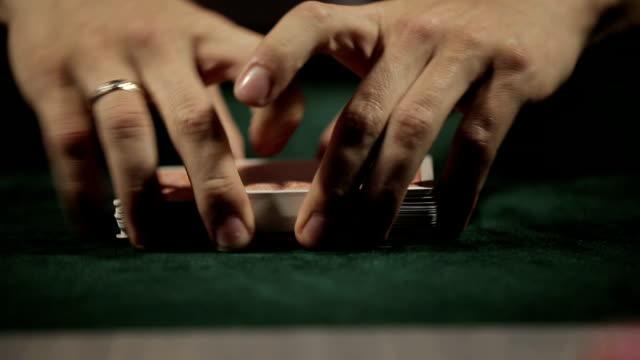 Dealer shuffles the poker cards video