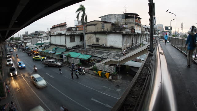 December 31, 2016 : Time Lapse - Unidentified people walking on the overpass and traffic moment in the street at Bangkok, Thailand taken by Fisheye lens video