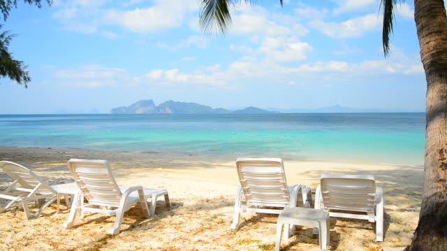 Deck Chairs on Paradise Island Beach in Summer Season video