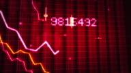 Declining financial chart close-up. Red and White. Loopable. video