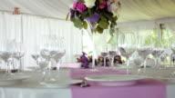 decor design round table purple lilac stripe in the middle video