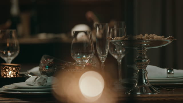 Decorated dinner table for christmas eve video