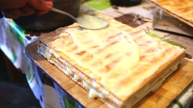decorated preparation food chiffon sweet layer cake lifestyle video
