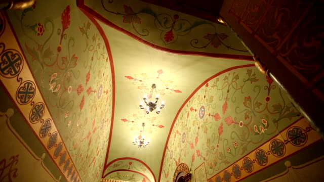 Decorated walls and ceiling in a monastery video
