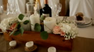 Decorations made of wood and wildflowers served on the festive table video