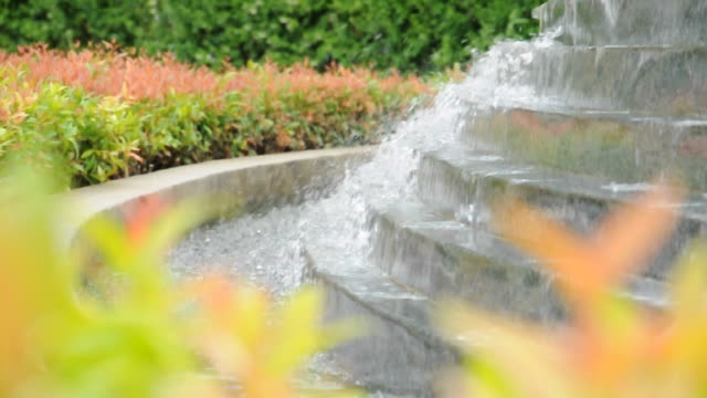 Decorative waterfall or cascade in the garden video