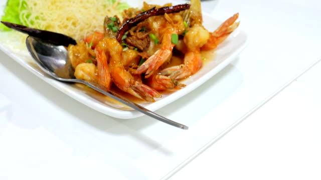 deep fried shrimp with tamarind sauce, Thai Traditional Cuisine. video