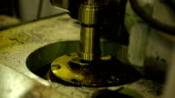 Deep hole drilling workpiece with use of oily liquids, rotating machine elements video