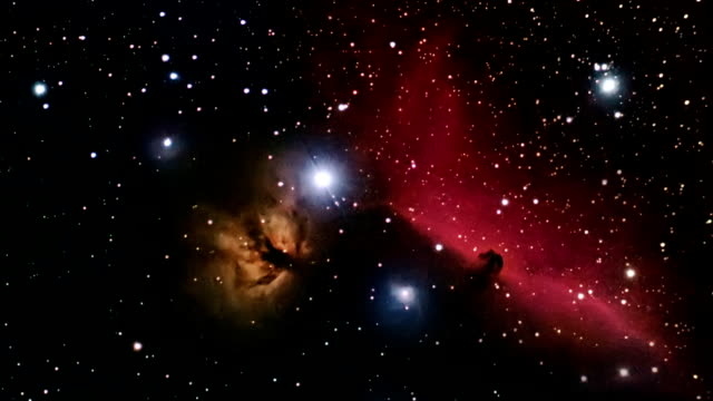 Deep space beautiful night sky. Horsehead Nebula constellation Orion. video
