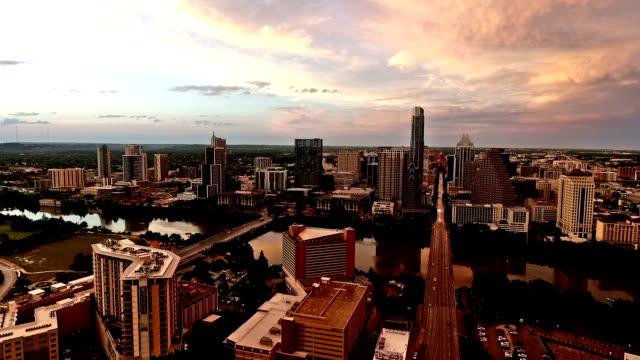 Deep Sunset Over Austin South Congress Side Pan video