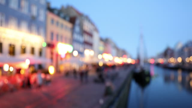 defocus shot of Copenhagen nyhavn new port of Denmark video