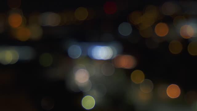 Defocused city view at night. video