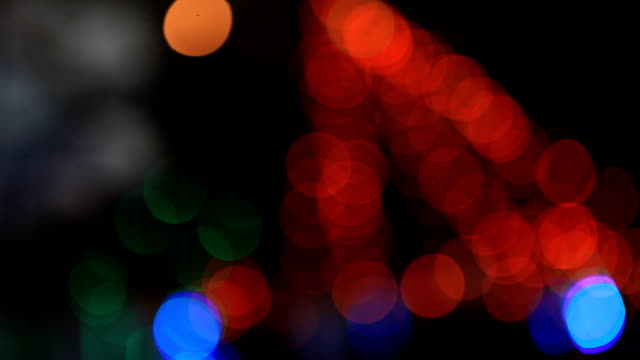 Defocused colour lights in christmas tree video