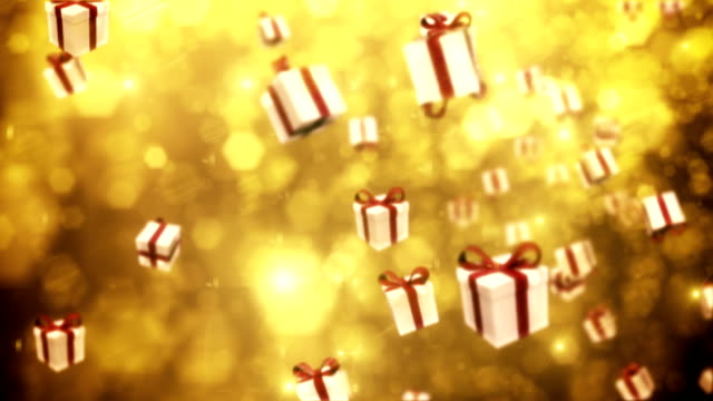 Defocused Gold Particles with Gift Boxes - Loopable video