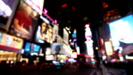 Defocused NYC Times Square City Lights video