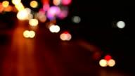 Defocused of night traffic on bridge video