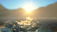Defocused sea and sunrise video