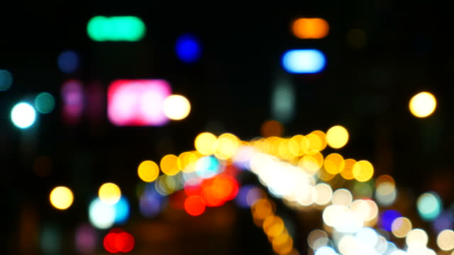Defocused traffic lights video