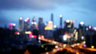 Defocused view of guangzhou busy traffic in overpass video