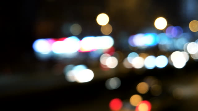 Defocused View of Night driving in Beijing, China (Driving/Process Plates) video
