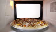 Defrosting raw frozen seafood pizza in the microwave oven inside view video