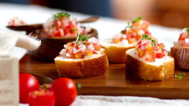4K Delicious Bruschetta with tomatoes. video