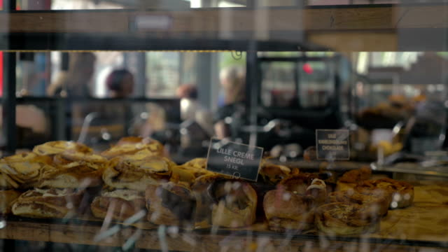 Delicious buns in the bakery show-window video