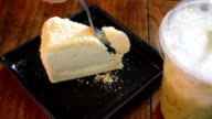 Delicious cheese cake slice and iced green tea video